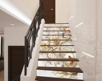 3D Flowers Stairway Decoration Adhesive Vinyl Stair Riser Panels Stairs  Risers Stickers Mural Photo Mural Vinyl Decal Wallpaper Removable