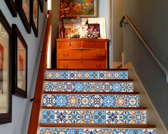 Blue Mexican Tiles Decoration Adhesive Vinyl Stair Riser Panels Stairs  Risers Sticker Mural Photo Mural Vinyl Decal Wallpaper Removable