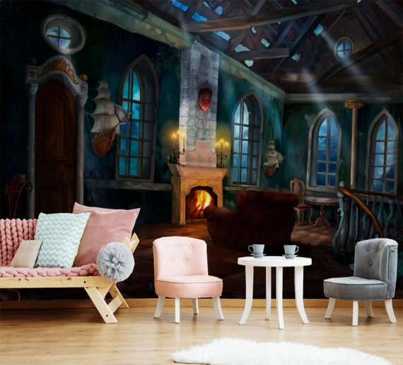 Alte Burg Raum Hogwarts innen Kinder Tapete Kinderzimmer Harry Potter  Schloss Tapete Fototapete selbst Klebstoff exklusives Design