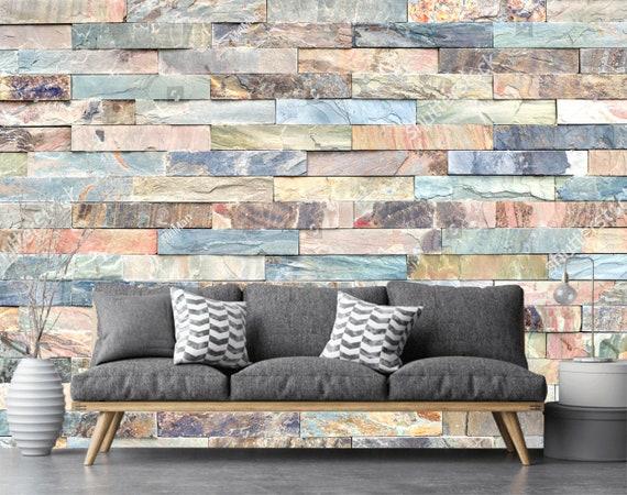 Blue Pink Gray Marble Brick Wall Wallpaper 3d Wall Sticker Wall Decor Graffiti Wall Mural Self Adhesive Exclusive Design Photo Wallpaper