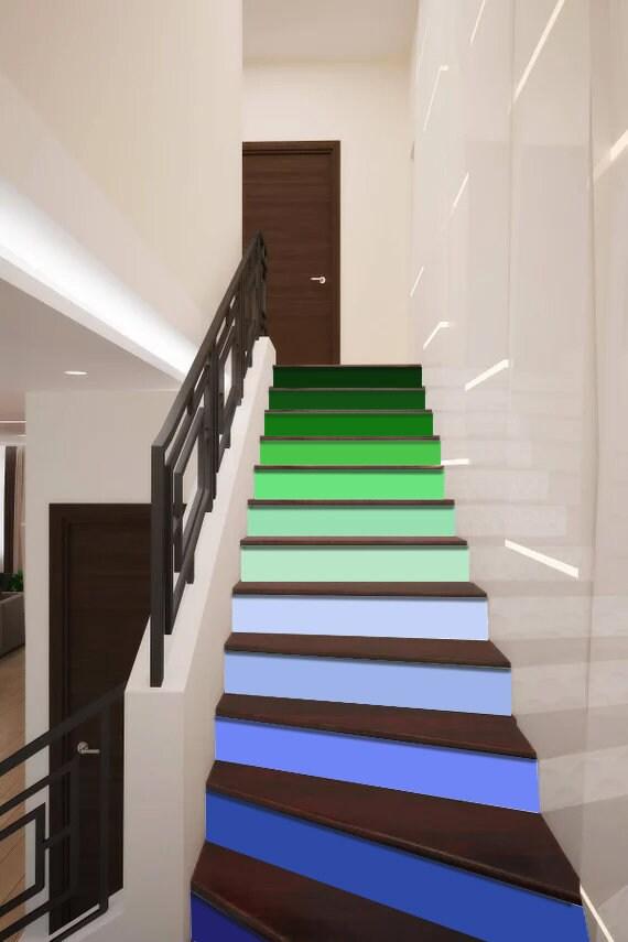 Arc en ciel bleu & vert escaliers décoration escalier adhésif Riser  panneaux escaliers contremarches autocollant murale Photo murale  autocollant ...