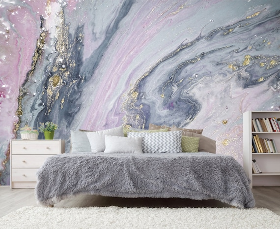 Pink Silver Gold Marble Wallpaper 3d Wall Sticker Decor Etsy