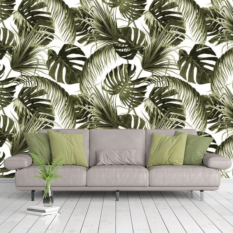 green tropical flowers leaves wallpaper 3d wall sticker decor | etsy