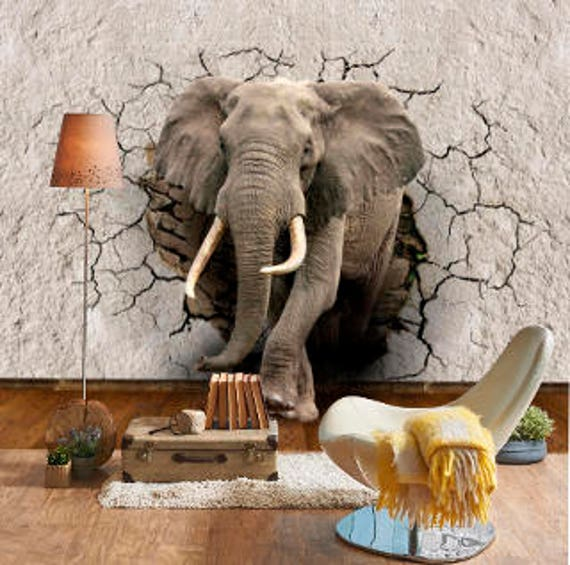 3d Elephant Shattered Wall Sticker Wall Fabric Peel And Stick Etsy