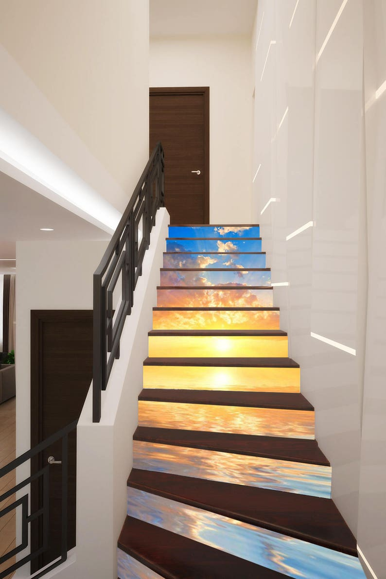 3D Ocean Sunset Stair Decoration Adhesive Vinyl Stair Riser Panels Stairs  Risers Sticker Mural Photo Mural Vinyl Decal Wallpaper Removable