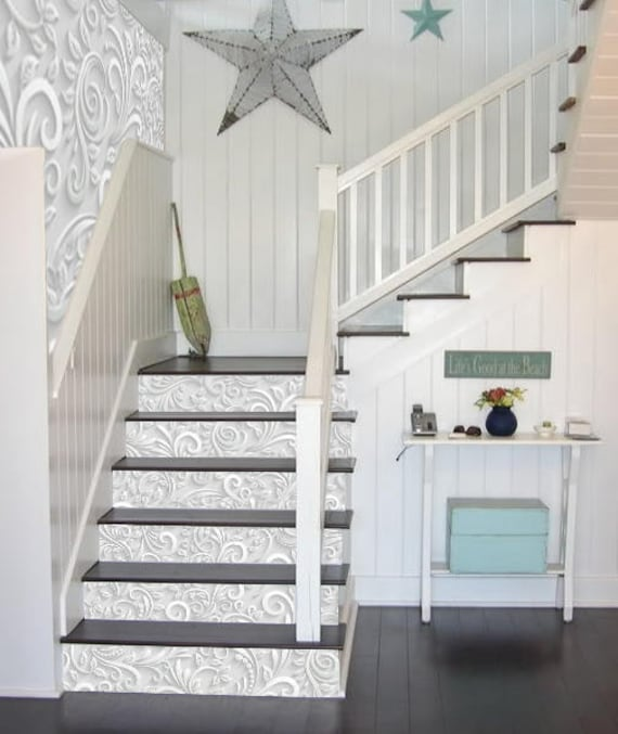 Weisse Blumen Treppe Dekoration Selbstklebend Vinyl Treppe Etsy