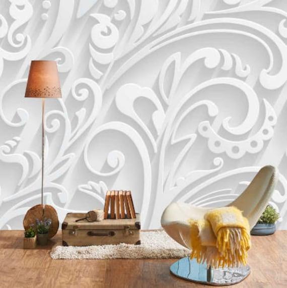 Decor 3d Autocollant Mural 3d Fleur Papier Peint Peler Et Etsy