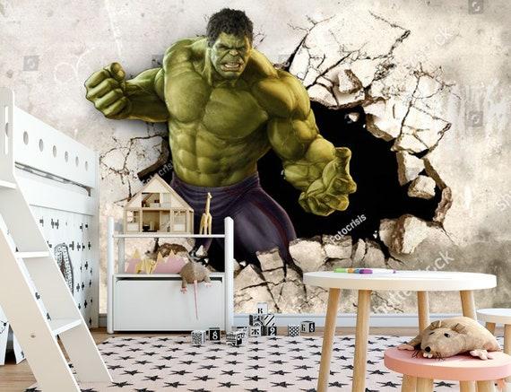 Hulk Broken Wall Kids Wallpaper Kids Habitación Pegatina Pared Vivero Hulk Foto Wallpaper Mural Adhesivo Exclusivo Diseño Photowallpaper