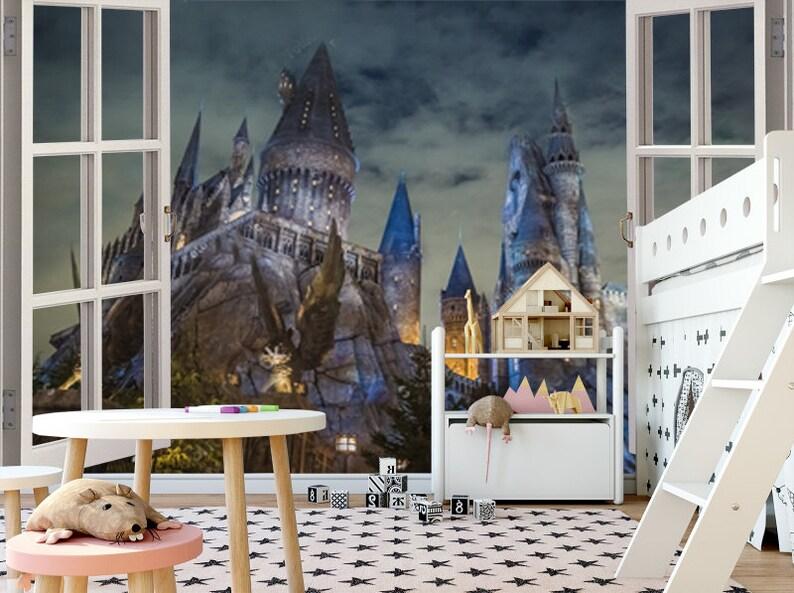 Hogwarts Schloss Kinder Tapete Raum Aufkleber Wand Etsy