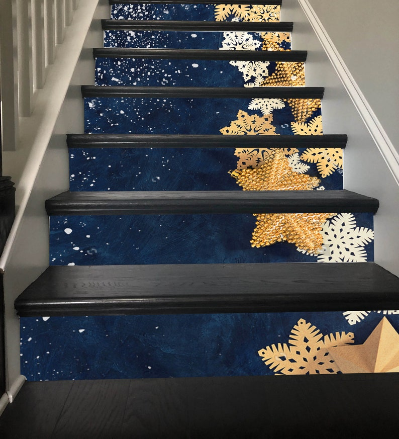 Christmas Stair Decor Gold Snowflake Stairway Decoration Adhesive Stair  Riser Panels Stairs Risers Sticker Mural Photo Decal Wallpaper