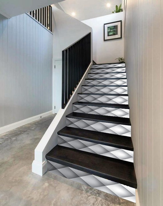 3D Waves Silk Stair Decoration Adhesive Vinyl Stair Riser Panels Stairs Risers Sticker Mural Photo Mural Vinyl Decal Wallpaper Removable