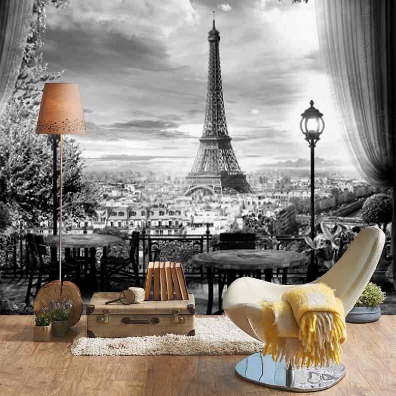 37 X 27 M Paris Noir Blanc Vue De Papier Peint Mural Etsy