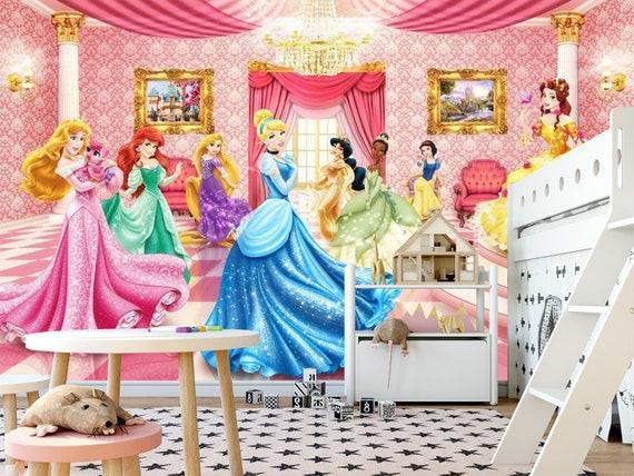Princess Kids Wallpaper Room Sticker Wall Nursery Disney Etsy