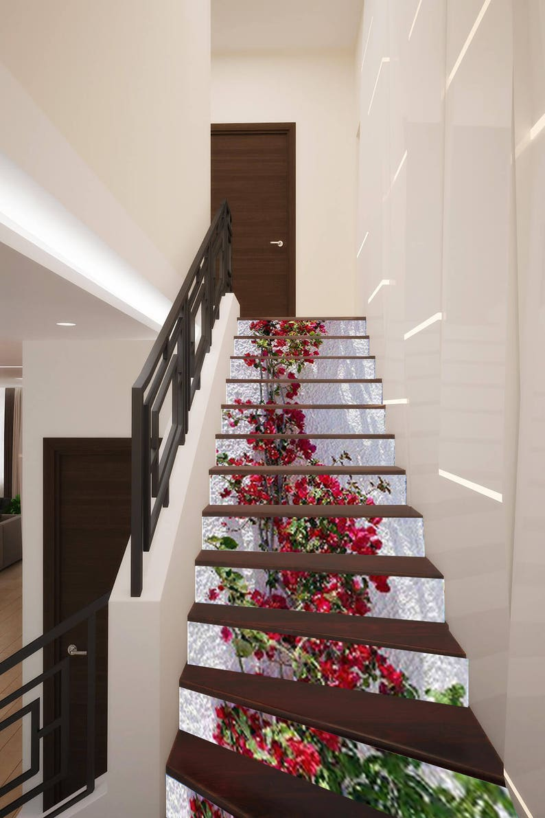 3D Flower On Wall Stair Decoration Adhesive Vinyl Stair Riser Panels Stairs  Risers Sticker Mural Photo Mural Vinyl Decal Wallpaper Removable