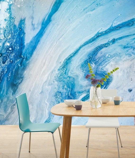 Frozen Silver Turquoise Mint Blue Winter Marble Wallpaper Wall Sticker Decor Ceiling Mural Self Adhesive Exclusive Design Photo Wallpaper