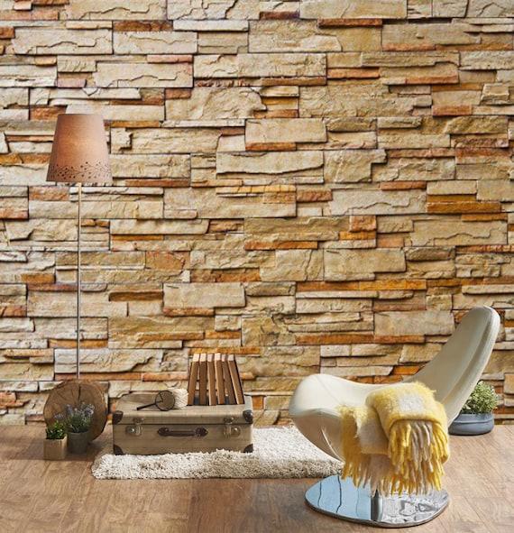 3d Beige Brick Wall 3d Wall Sticker Wall Decor Peel And Stick Etsy