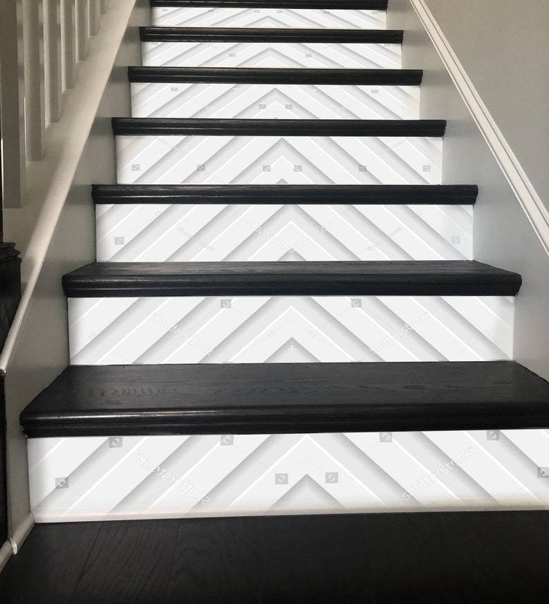 3D Stripe Design Stair Decoration Adhesive Vinyl Stair Riser Panels Stairs  Risers Sticker Mural Photo Mural Vinyl Decal Wallpaper Removable