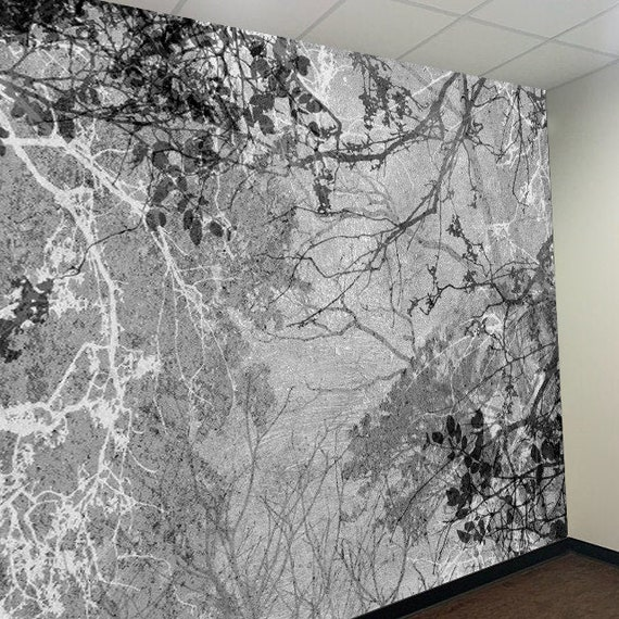 Black White Trees Wall Decor Peel And Stick Wallpaper 3d Wall Etsy