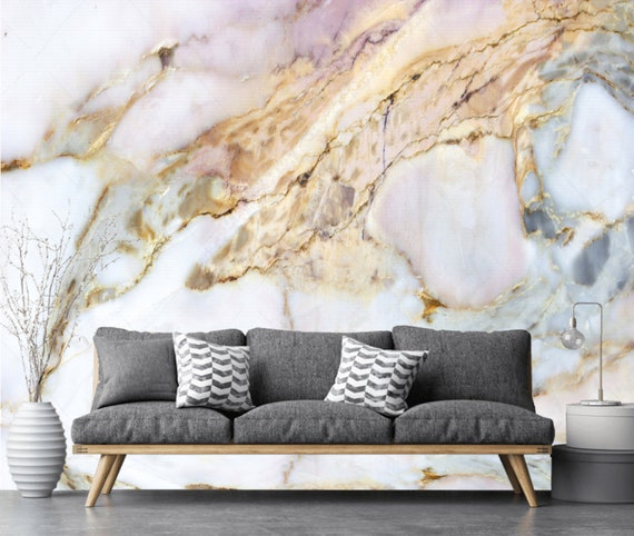 White Pink Silver Gold Marble Wallpaper Wall Sticker Decor Etsy