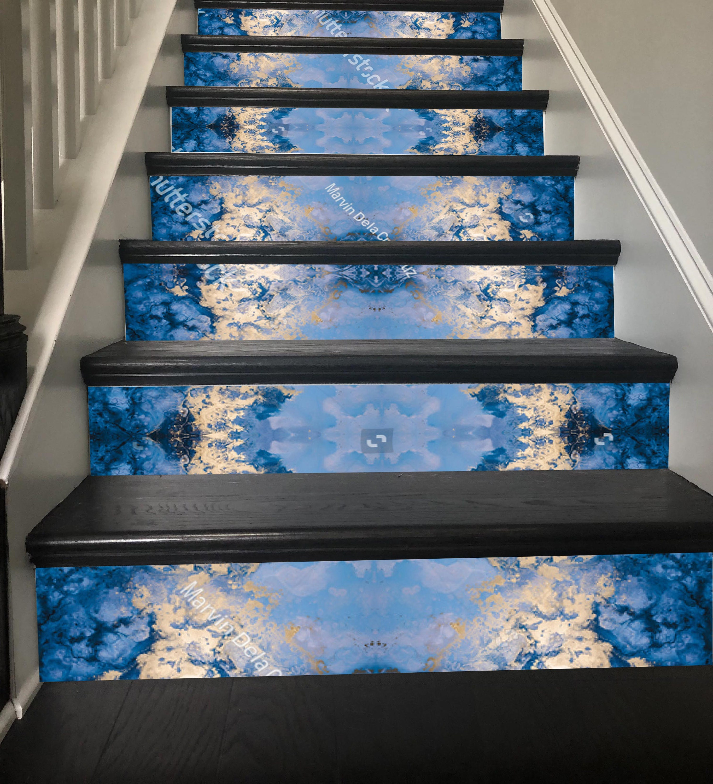 Bon Christmas Stair Decor Sky Blue Snowflake Stairway Decoration Adhesive Stair  Riser Panels Stairs Risers Sticker Mural Photo Decal Wallpaper
