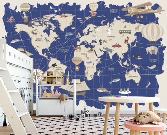 World Map Animals Kids Room Wallpaper Sticker Wall Nursery Mural Self Adhesive Exclusive Design Photo Wallpaper