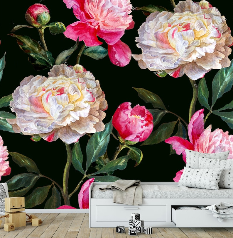 Multicolor Tapety Naklejki Kwiaty Liscie Ozdoba Projekt Tapeta Etsy