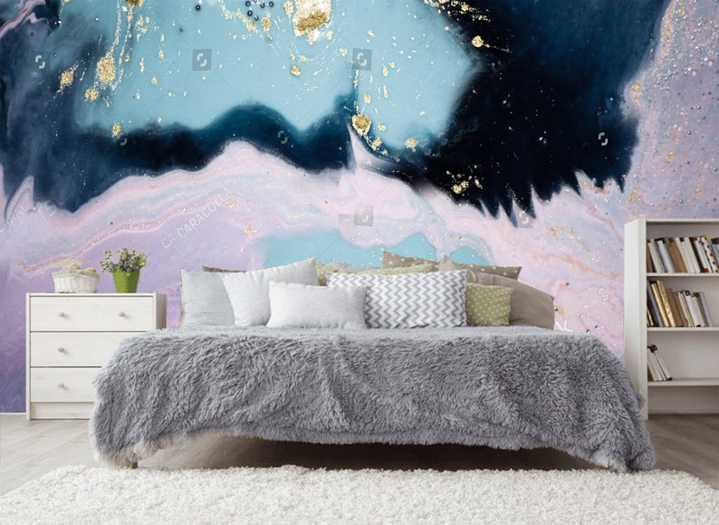 Lavender Turquoise Navy Blue Luxury Marble Wallpaper Wall Etsy