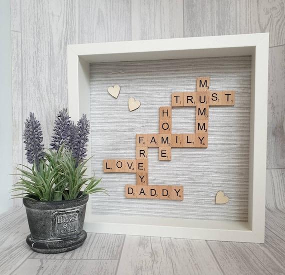 Personalised Wedding Frame Scrabble Frame Family Frame Engagement Frame 10x10 Personalised Scrabble Frame White Scrabble Frame