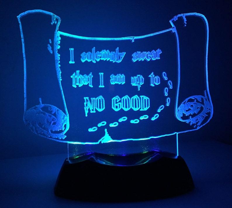 Marauders Map LED Nightlight or Desk Lamp.  Harry Potter. image 0