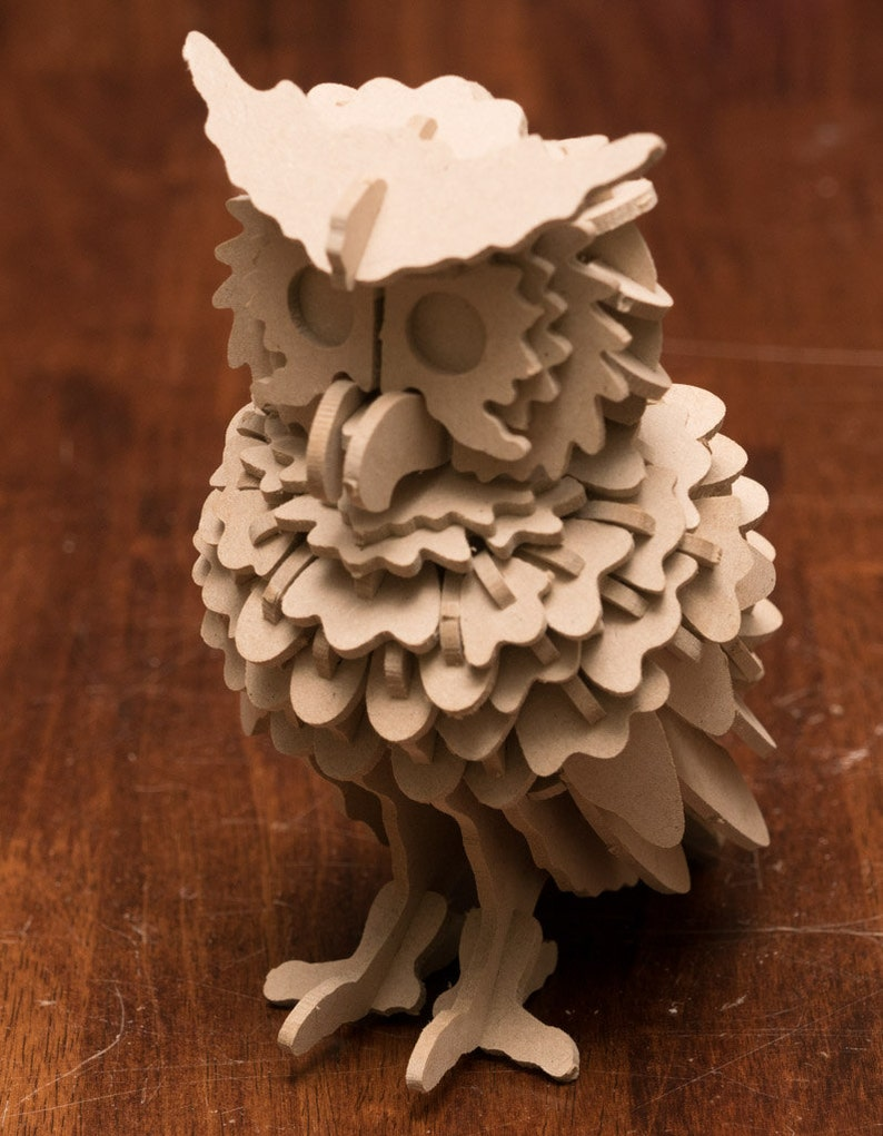Owl 3D Bird Wooden Toy Puzzle image 0