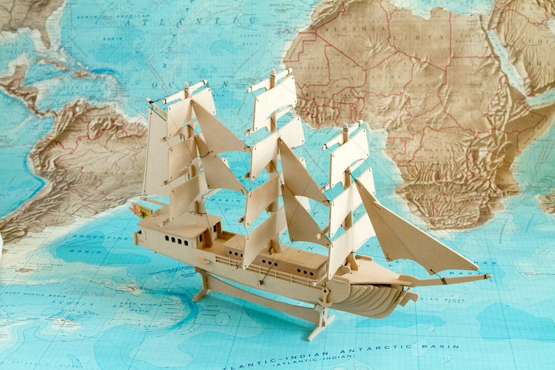 Clipper Sailing Ship 3D Nautical Wooden Toy Puzzle image 0