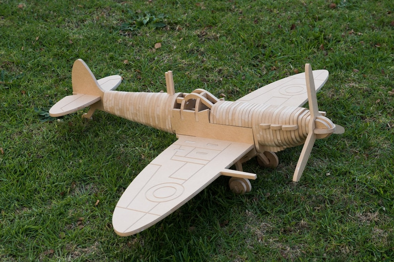 Spitfire Fighter Aircraft 3D Wooden Toy Puzzle image 0