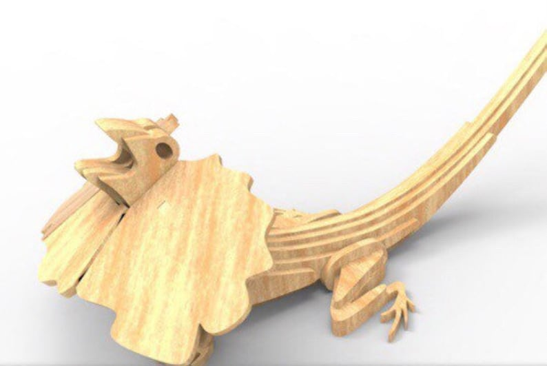 Frilled Neck Lizard Australian Animal Series 3D Wooden Toy image 0