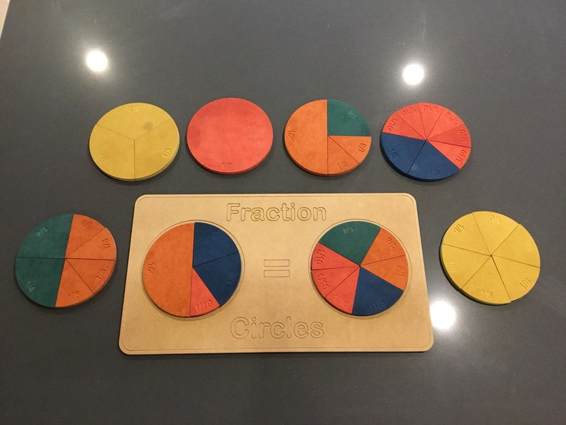 Wooden Fraction Circles teaching aid image 0