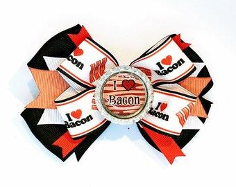 I Love Bacon Hair Bow Headband Foodie Breakfast