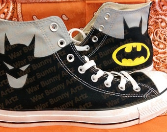 ea36336e9b5b Comic Book   Batman Inspired - Custom Hand Painted Converse Sneakers   Shoes