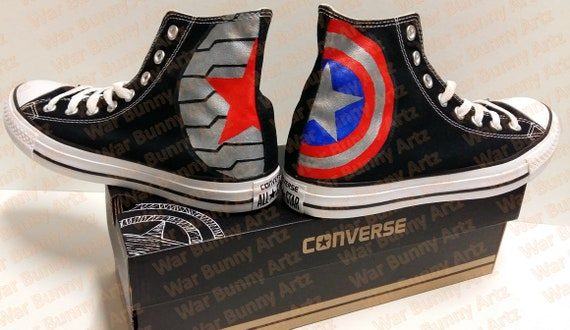 Captain America Inspired Custom Hand Painted Shoes Converse Sneakers