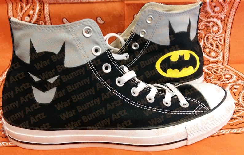 b7b15dfc5593 Comic Book   Batman Inspired Custom Hand Painted Converse