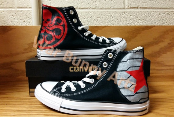 Winter Soldier Inspired Hand Painted Shoes Converse Sneakers