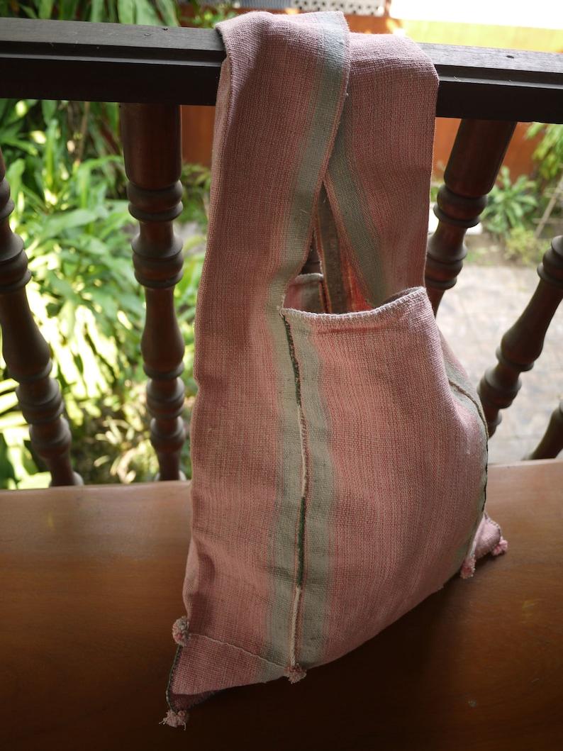 asian Karen tribal textile bag handwoven pink dyed cotton village handmade Bag made from handwoven Karen cotton textile Fairtrade