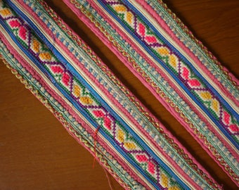 Antique vintage Hmong textile - asian tribal textile - hilltribe costume - recycled trimming