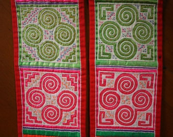 Antique vintage Hmong textile - asian tribal textile - belt pair from old costume