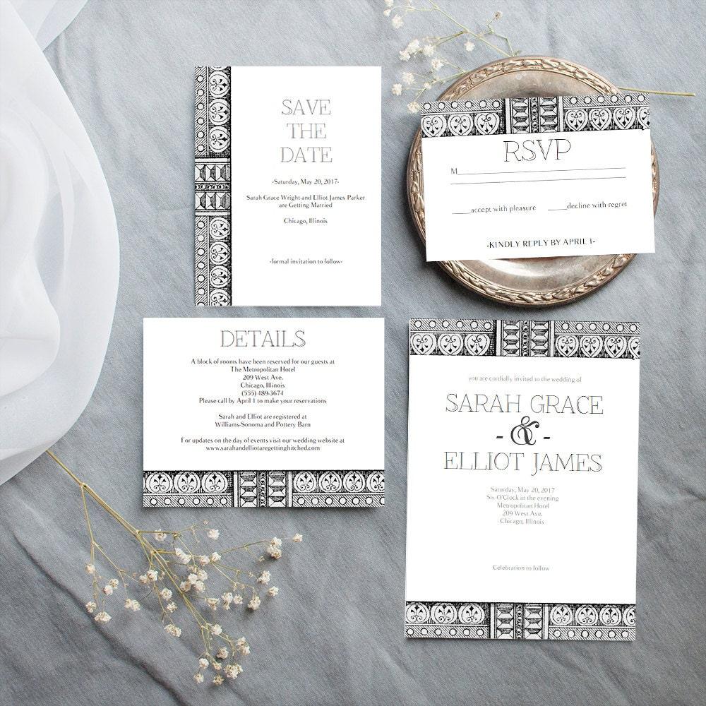 Wedding Templates Art Deco Inspired Wedding Invitation Bundle Wedding Printable Wedding Communication Template Set Pdf Instant Download