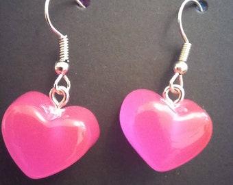 """Pink """"Gummy"""" Heart Earrings"""