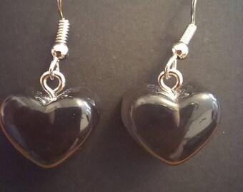 """Black """"Gummy"""" Heart Earrings"""
