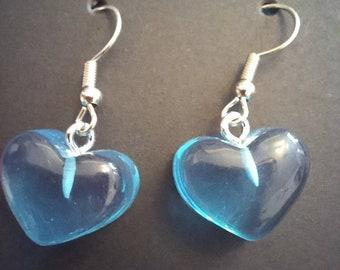 """Blue """"Gummy"""" Heart Earrings"""