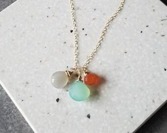 Three Gemstone Drops Necklace