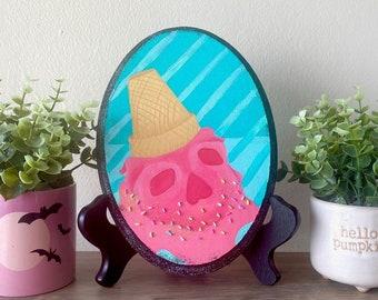 Pastel Goth Ice Cream Art   Halloween Decor   Wood Oval Canvas   Acrylic Painting