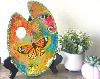 Butterfly Paint Palette Painting   Abstract Art   Monarch Butterfly   Peacock Butterfly   Wall Art    8x12