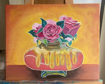 Rose Flower Arrangement Acrylic Painting   Modern Home Decor   16x20 Wall Art   Canvas   Flowers on Canvas   Rose Art   Floral